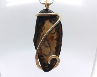 Royal Sahara Picture Jasper Pendant | Scenic Jasper Necklace | 14kt Yellow Gold Filled |  Picture Jasper Necklace | Boho Luxe Pendant