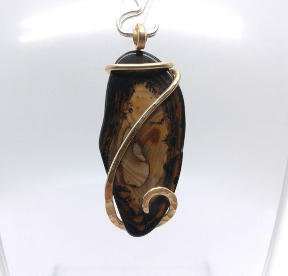 Royal Sahara Picture Jasper Pendant | Scenic Jasper Necklace | 14kt Yellow Gold Filled |  Picture Jasper Necklace | Boho Luxe Pendant
