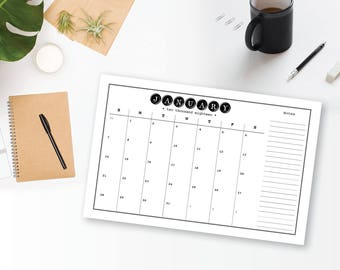 "Large 2018 Printable 12 Month Wall Calendar - Typewriter, Home, Office Calendar 11"" x 17"" -  2018 Instant Download Calendar"