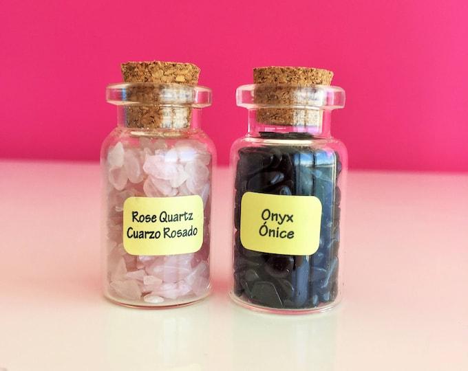 Rose Quartz Crystal Love Set w/ Onyx perfect for Protection, Healing, Meditation, Yoga Gift