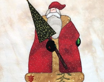 Santa Claus with Christmas Tree Appliqued Quilt Block