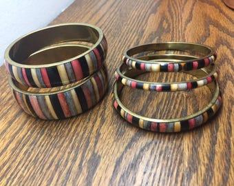 Set of 5 Bangles, Bohemian Bangles, Brass Bangles, Vintage Bracelets, Vintage Jewelry
