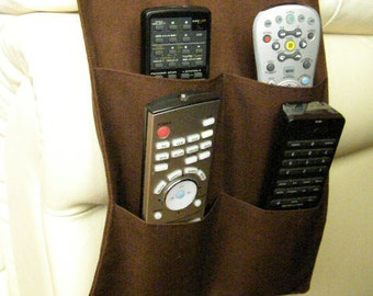 Remote Control Caddy for TV Remotes 4 pocket Dark Brown