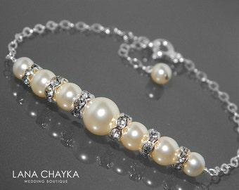 Bridal Pearl Bracelet Swarovski Ivory Pearl 925 Sterling Silver Bracelet Wedding Ivory Pearl Delicate Bracelet Bridal Bridesmaid Bracelets