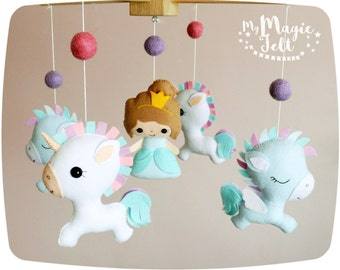 Baby mobile unicorn Baby mobile princess and unicorn Crib mobile unicorn and pegasus Baby girl mobile Nursery mobile Baby shower princess