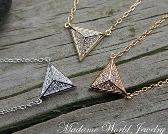 Clear CZ Spiky Triangle Pyramid Necklace *NEW*