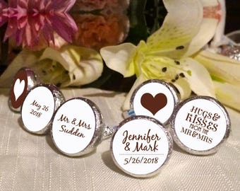 108 Mr and Mrs Hershey Kiss® Stickers  -Wedding Kiss Labels - Candy Labels - Wedding Favors - Candy Stickers - Hearts - Hugs and Kisses