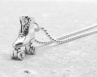 Roller Skate Necklace, Roller Skate Jewelry, Roller Skate Pendant, Roller Girl, Roller Derby Jewelry, Sterling Silver Jewelry, Roller Skates
