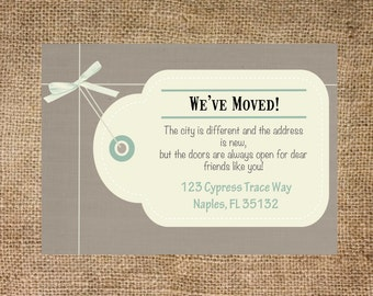 Moving Announcement postcard, gift tag, personalized and printable, 5x7
