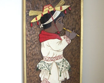 Vintage Midcentury Wood Wall Hanging Carved and Painted Folk Art Flute Boy