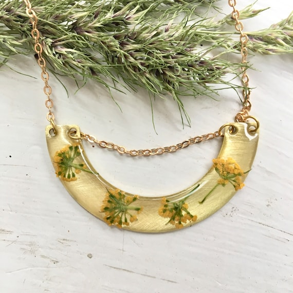 Crescent Golden Alexander flower necklace