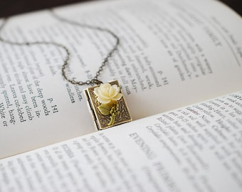 Book Locket Necklace. Antique Brass Book Locket with Ivory Cream Resin Rose, Miniature Book Necklace, Gift for Librarian, mothers day gift