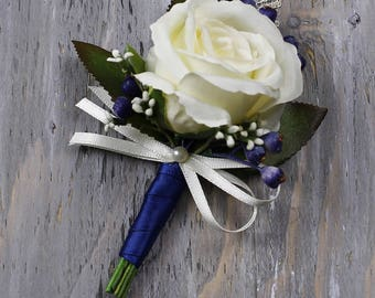Ivory Wedding Boutonniere Grooms Boutonniere Groomsmen Boutonniere Mens Rose Boutonniere Navy Blue Boutonniere Wedding  Boutonniere