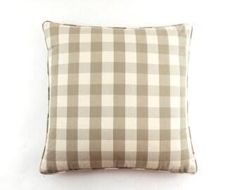 ON SALE Schumacher Camden Check Pillows with Self Welting (in Beige 22 X 22)