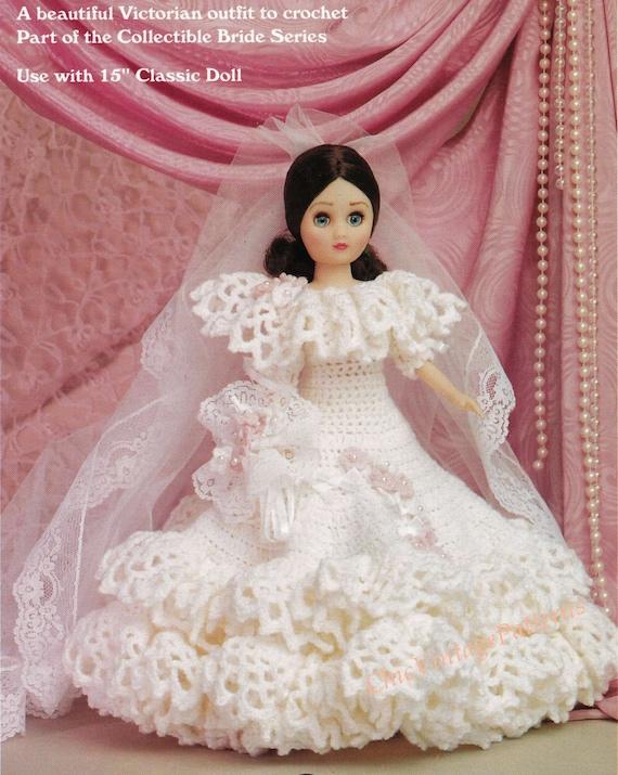 Crochet Doll Wedding Dress Pattern ... Fashion Doll ... 15 inch Doll ...
