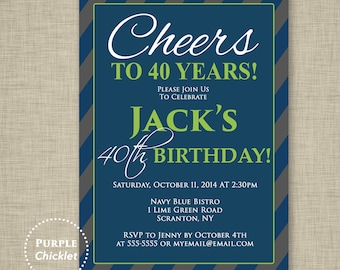 Men's 40th Birthday Invitation Cheers to 40 years Masculine Navy Blue Lime Green Charcoal Adult Party Invite Diagonal Stripes Printable 230