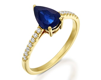 Sapphire Engagement Ring-Art deco Sapphire Engagement Ring -Gold Ring-Anniversary gift-Promised ring-Sapphire ring-Pear shaped Sapphire ring