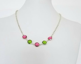 Ippolita Necklace //Station Necklace//Green Necklace//Pink Necklace//Statement Necklace//Wedding Necklace//Quartz Necklace