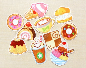 Sweets Stickers, Ice Cream Stickers, Donut Stickers, Waterproof Sticker, Food Sticker, Planner Sticker, Laptop Sticker, Pastry Stickers Set