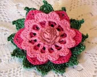 Pink Petals Flower Brooch, Crochet Thread Pin, FB159-01