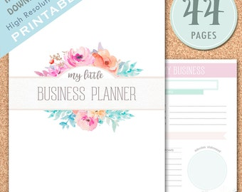 PRINTABLE Small Business Planner, Etsy Business Organizer, Etsy Shop Management, Home Business, Floral Planner, Pastel