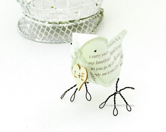 2nd Anniversary Gift COTTON Fabric Bird i carry your heart with me Green Bird with personalized heart by Cotton Bird Designs