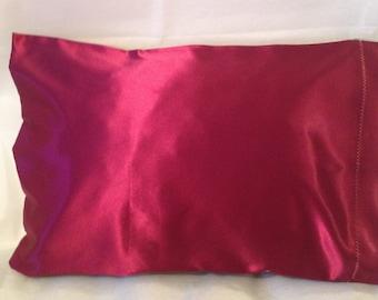 Burgundy Satin Pillowcase