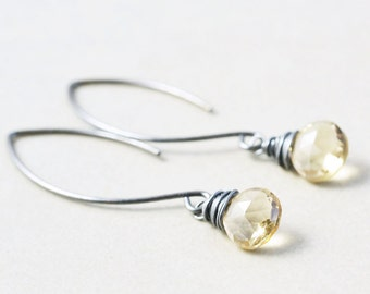 Beige Dangle Earrings, Oxidized Silver Earrings, Champagne Quartz Earrings