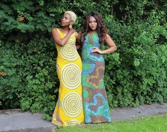 Ankara Maxi Fitted Dresses