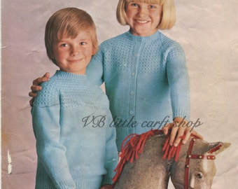 Child's cardigan and sweater knitting pattern. Instant PDF download!