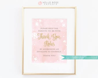 Write your Address on an Envelope . Thank You Notes Sign Printable 8x10 . Baby its Cold Outside Baby Shower Girl . Pink Watercolor and Gold