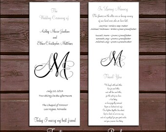 150 Monogram Wedding Ceremony Programs - monogrammed