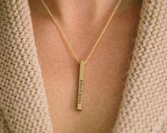 Bookworm - She Is Too Fond Of Books - Vertical Bar Necklace - Bookish Gift For Her - Louisa M Alcott Quote - Literary Gift For Readers