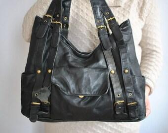 Vintage Ledertasche, Oversize Frauen Griff an der Oberseite Tasche... (074)