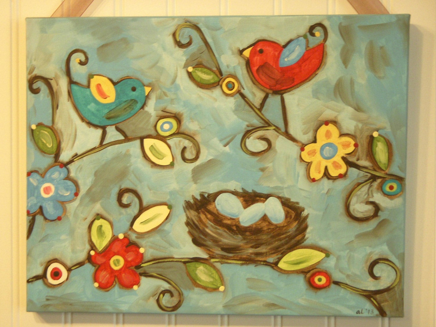 Bird nest painting Canvas Primitive folk art 11 x 14 Original