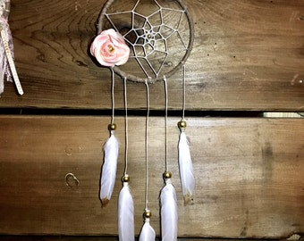 Simple dreamer, 4 inch dream catcher with pink flower and gold beads, nursery decor dreamcatcher, shabby chic, native american, boho dream