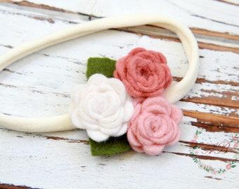Felt Flower Headband - Blush Flower Headband - Baby Felt Flower Headband - Baby Headband - Baby Flower Headband