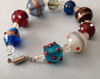 Art Glass Bead Bracelet Red Blue Purple Wedding Cake Beads