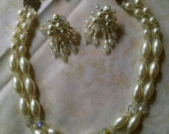 Vintage Pearl Looking Beaded Necklace and Earring Set, with Rhinestones