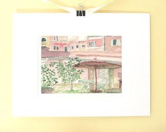 Italian vacation watercolor painting print, Trastevere Rome Italy, Italian art, Hotel Santa Maria, Italy giclee, archival, matted 9x12