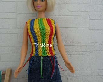 Jeans for Barbie doll and top skirt multicolor knit