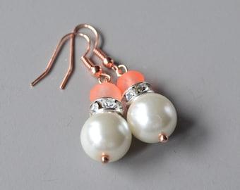 Pearl earrings pearl & rose