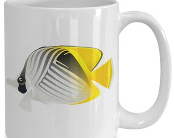 Tropical fish coffee mug - yellow 11oz 15oz