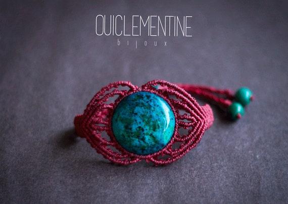 Chrysocolla ethnic bracelet