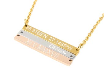 Bar Name Necklace • Personalized Bar • Mother's Day Gift Bar Necklace • Custom Name Necklace • Gold Bar Necklace • Gift for Mom