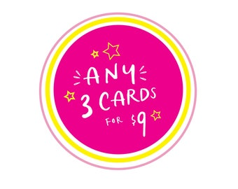 Mix and Match, Any 3 Cards, Assorted Greeting Cards, You Choose Cards, Card Set, Greeting Card Pack, Bulk Cards