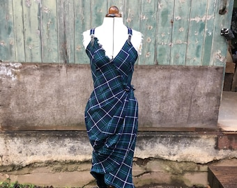 Size 8 to 10 Dark Blue Tartan Kilt Dress