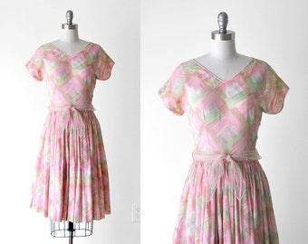 1950 watercolor dress. 50's pink dress. pastel. brushstroke print. sheer dress. 50 full skirt dress. m.