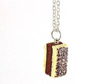 Neapolitan chocolate cake necklace