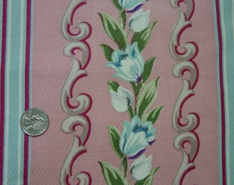 """Vintage Barkcloth Fabric Remnant Blue Tulips on Pink, Stripes, 23 1/2 x 38"""""""